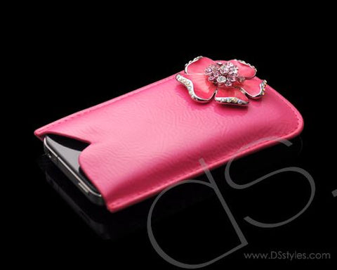 Mini Flower Series iPhone 4 and 4S Soft Pouch Case - Pink