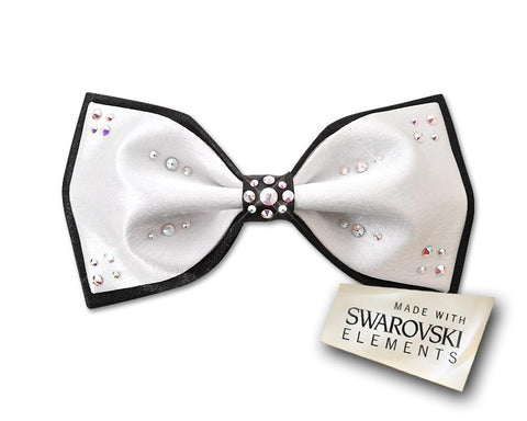 Swarovski Crystal Rhinestones Wedding Bow Tie for Men - White & Black