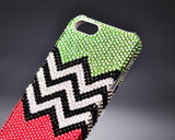 Pattern Wave Bling Swarovski Crystal Phone Cases - Green & Red
