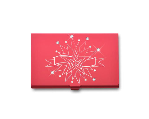 Twinkle Stars Bling Swarovski Crystal Card Case - Red