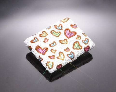 Multi Heart Bling Swarovski Crystal Cigarette Case