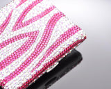 Zebra Wave Bling Swarovski Crystal Cigarette Case - Pink