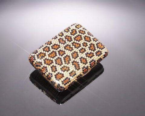Leopardo Bling Swarovski Crystal Cigarette Case - Brown