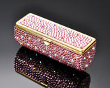 Scatter Bling Swarovski Crystal Lipstick Case With Mirror - Pink