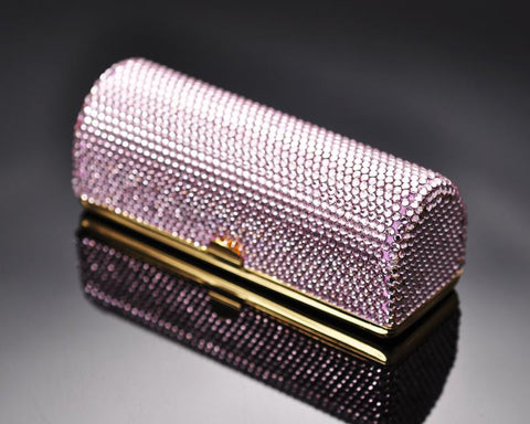 Classic Bling Swarovski Crystal Lipstick Case With Mirror – Pink