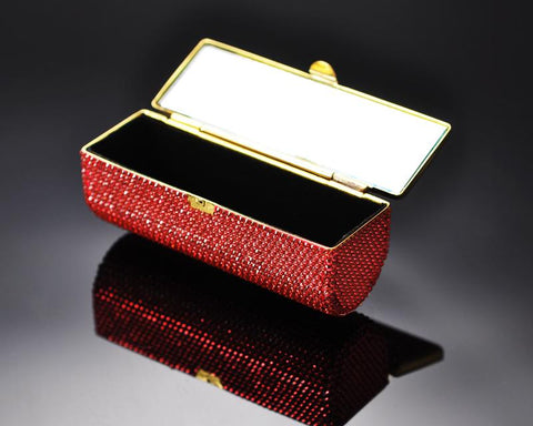 Classic Bling Swarovski Crystal Lipstick Case With Mirror – Orange