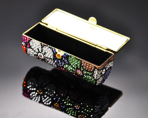Sweet Bonquet Swarovski Crystal Lipstick Case With Mirror - Black