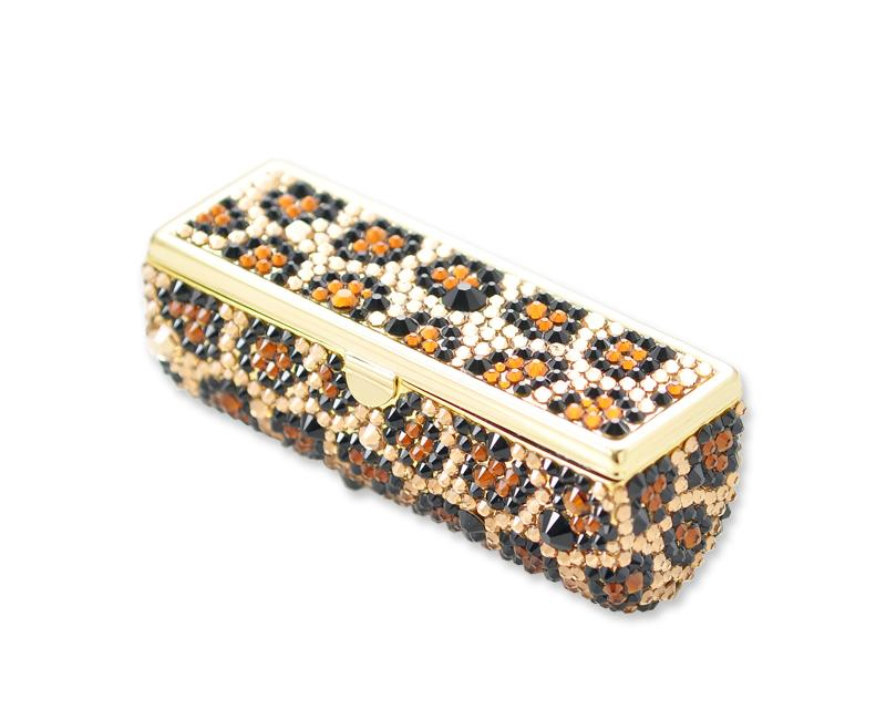 Leopardo Bling Swarovski Crystal Lipstick Case With Mirror