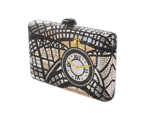 Timepiece Handcraft Bling Swarovski Crystal Clutch Bag - 16.5cm