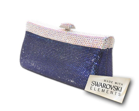Elegant Handcraft Swarovski Crystal Clutch Bag - Blue 17cm