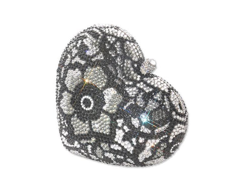 Flower Heart Handcraft Crystal Clutch Bag - Black 13cm