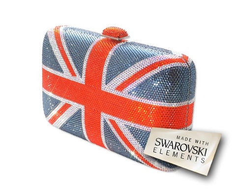 Union Jack Handcraft Crystal Clutch Bag - 14.5cm