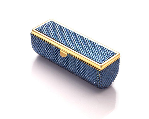 Classic Bling Swarovski Crystal Lipstick Case With Mirror – Blue