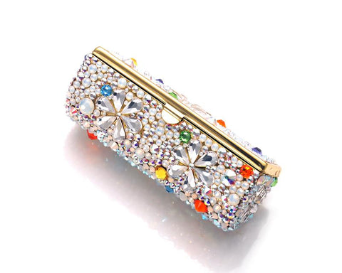 Petal Drops Bling Swarovski Crystal Lipstick Case With Mirror
