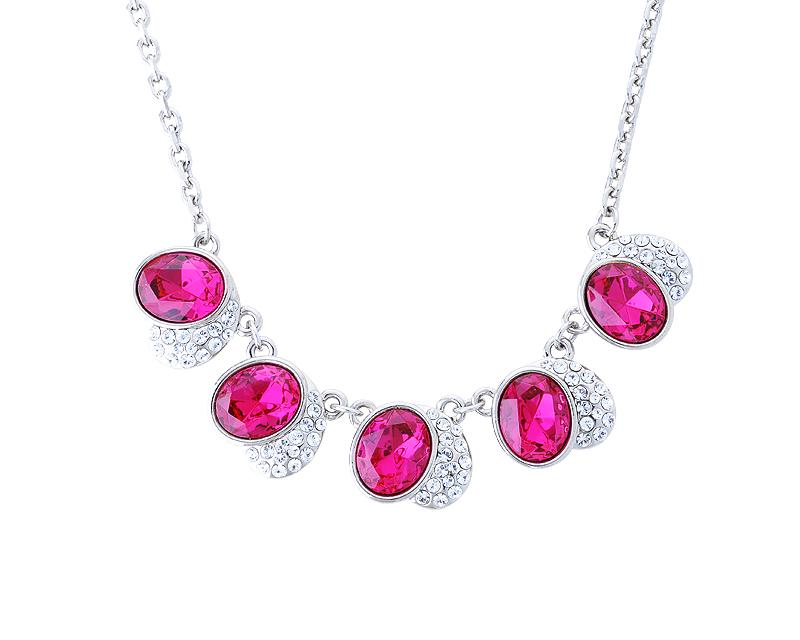 Fancy Heart Bling Swarovski Crystal Necklace - Magenta