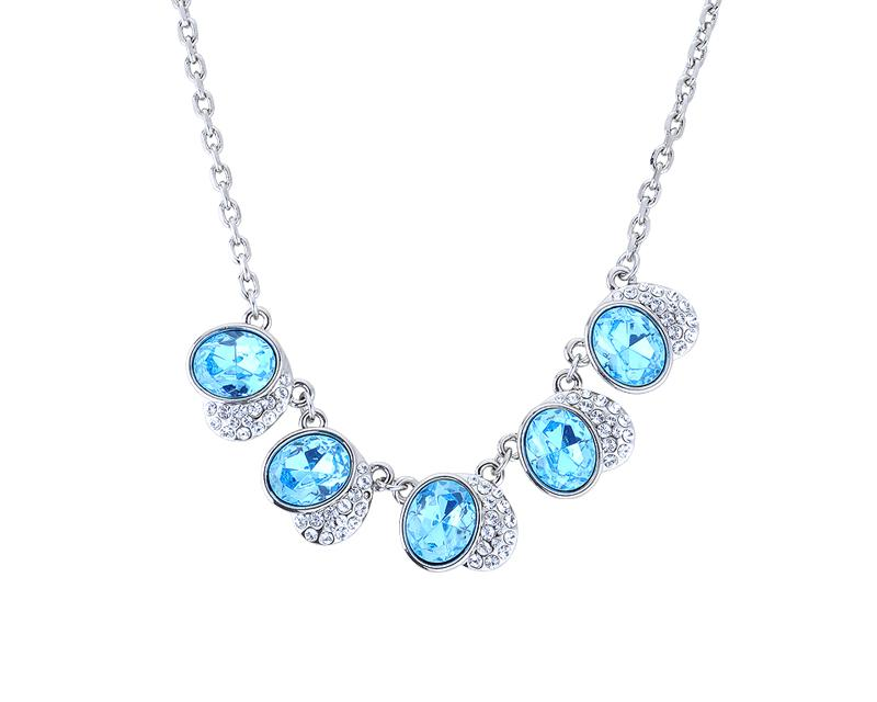 Fancy Heart Bling Swarovski Crystal Necklace - Blue