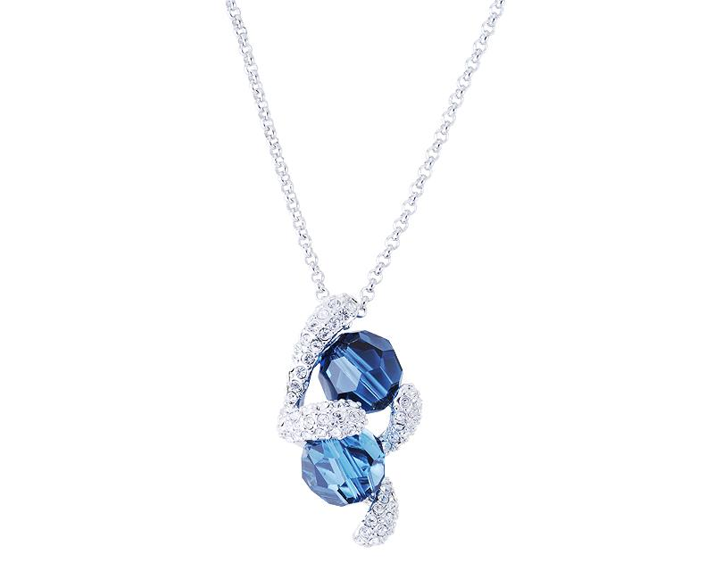 Flutter Bling Swarovski Crystal Necklace - Blue