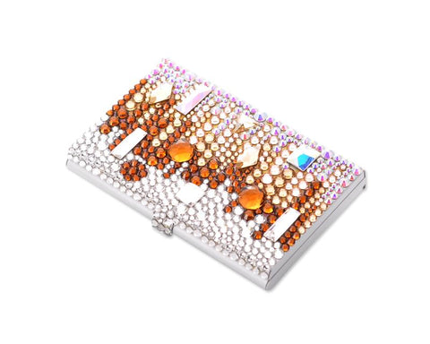 Symphony Bling Swarovski Crystal Business Card Holder Case - Brown