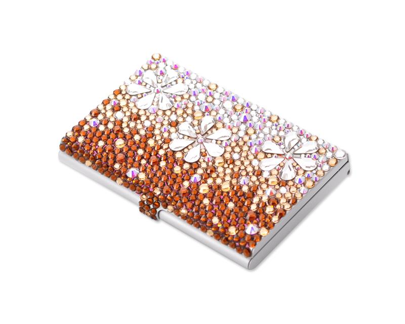 Gradual Bling Swarovski Crystal Business Card Case - Brown