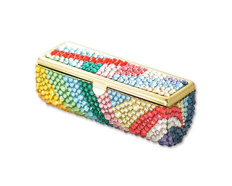 Rainbow Bling Swarovski Crystal Lipstick Case With Mirror