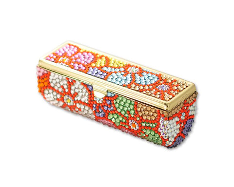Sweet Bonquet Swarovski Crystal Lipstick Case With Mirror - Red