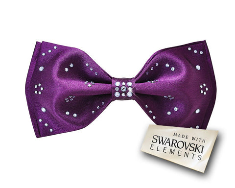 Men's Wedding Bow Tie with Dazzling Swarovski Crystal - Purple