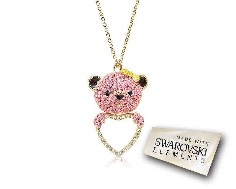 7.5cm Bobby Bear Bling Crystal Necklace - Pink