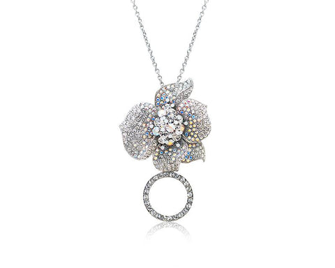 Flower Petals Crystal Necklace - Silver