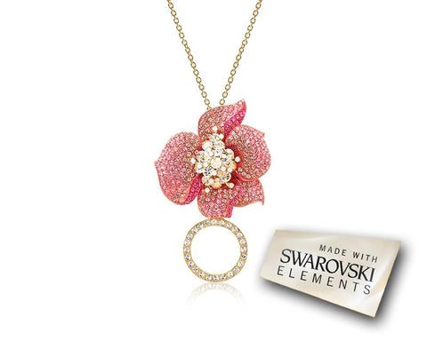 Flower Petals Crystal Necklace - Pink