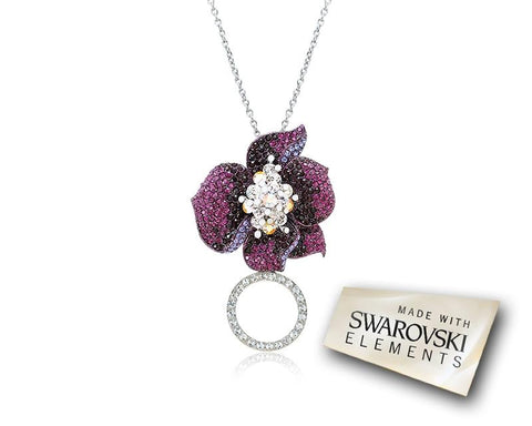 Flower Petals Crystal Necklace - Purple