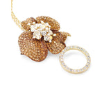 Flower Petals Crystal Necklace - Gold