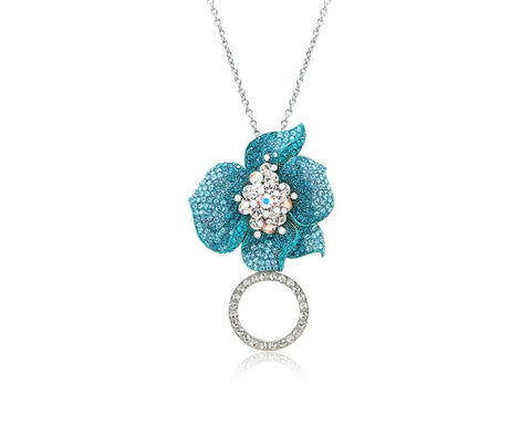 Flower Petals Crystal Necklace - Blue