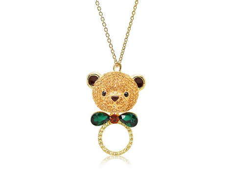 7.5cm Bowtie Bear Bling Crystal Necklace - Gold