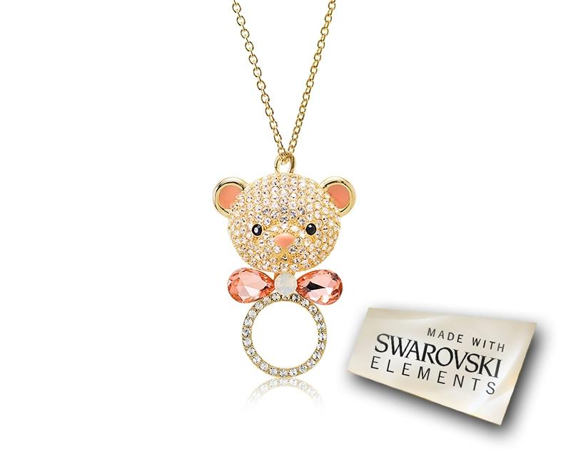 7.5cm Bowtie Bear Bling Crystal Necklace - Silver