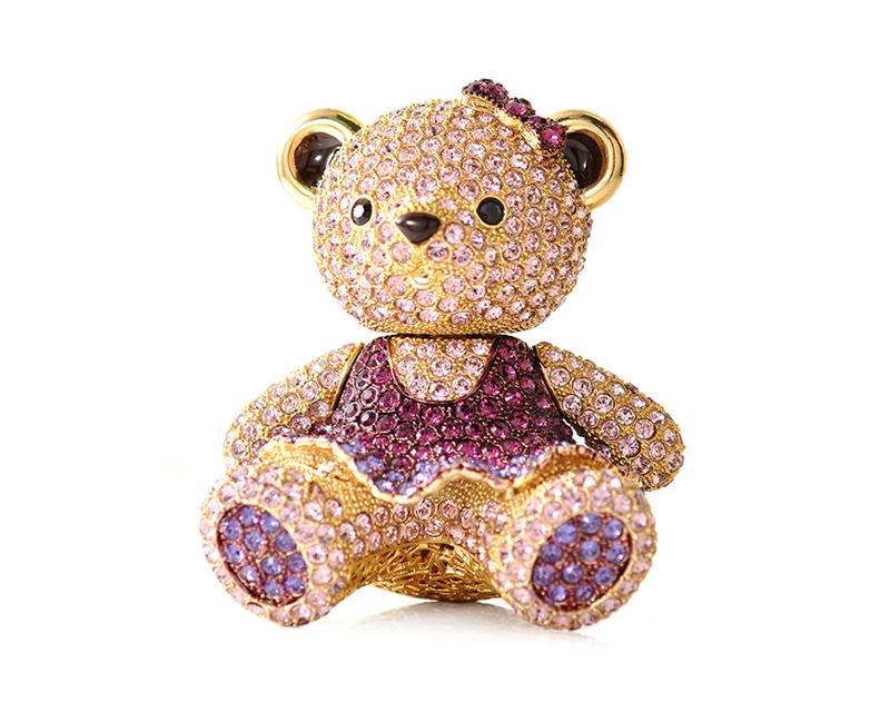 Childhood Collection Bling Crystal Teddy Bear In Skirt - Purple
