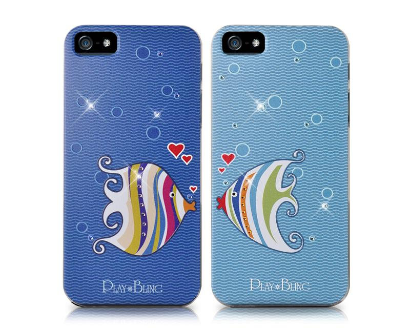 Kissing Fish Bling Swarovski Crystal Phone Cases - Couple Set