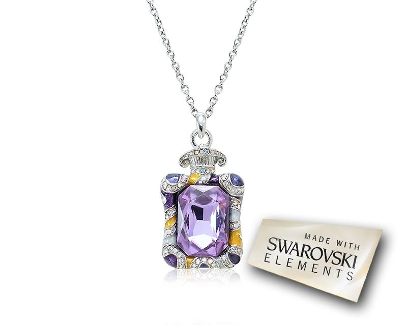 4cm Fragrance Bling Crystal Necklace - Purple