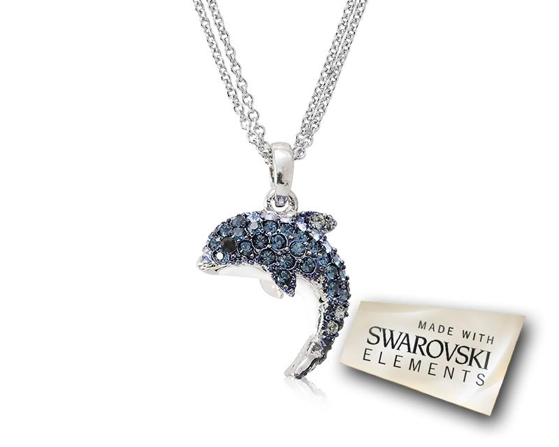 Dolphin Bling Swarovski Crystal Necklace - Blue