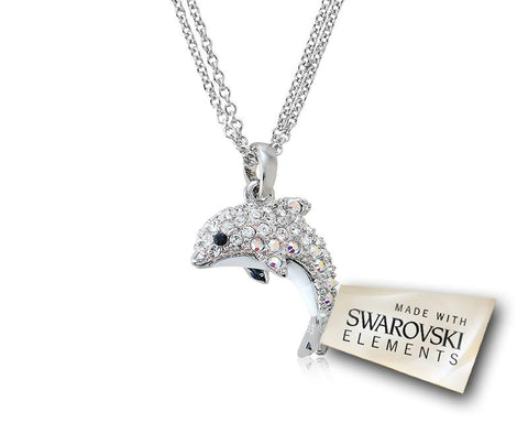 Dolphin Bling Swarovski Crystal Necklace - Silver