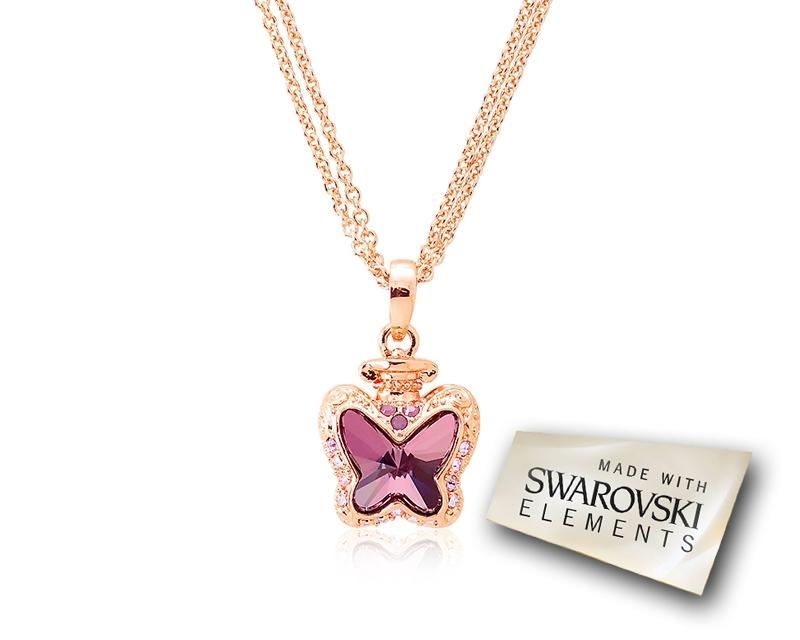 2.1cm Papillon Bling Crystal Necklace - Purple