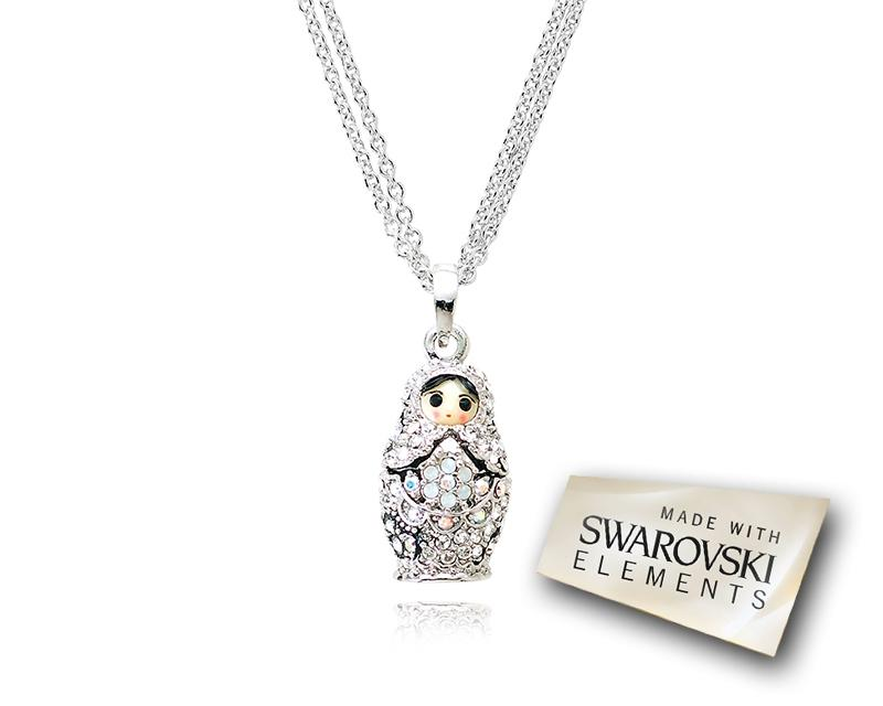2cm Swarovski Crystal Russian Doll Pendant Necklace - Silver