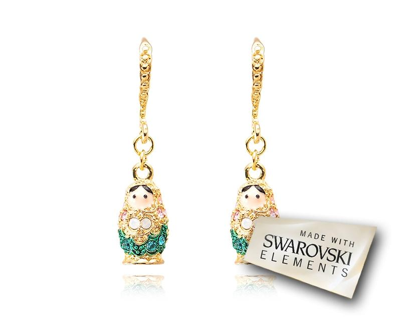 3cm Russian Figurines Bling Swarovski Crystal Earrings - Green