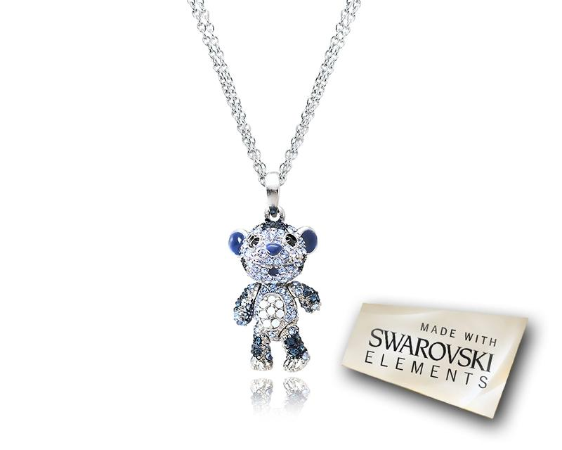 2.5cm Swarovski Crystal Tiger Pendant Necklace - Blue
