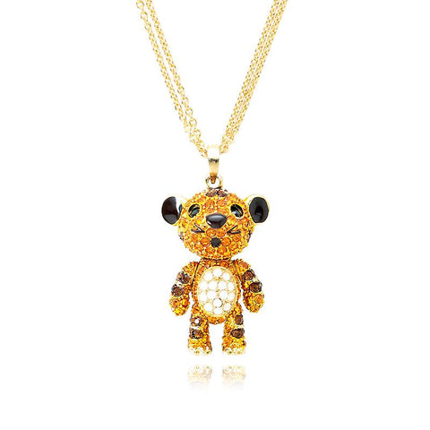 4cm Swarovski Crystal Tiger Pendant Necklace - Gold
