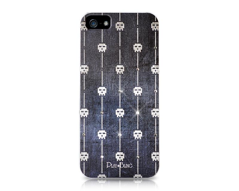 Skull Multi Bling Swarovski Crystal Phone Cases - Black