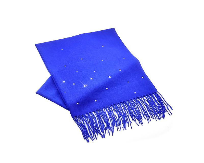 Worsted Wool Scarf with Swarovski Crystals – Royal Blue