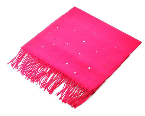 Worsted Wool Scarf with Swarovski Crystals - Magenta