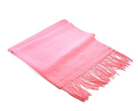 Worsted Wool Scarf with Swarovski Crystals – Pink