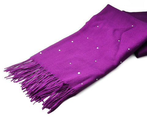 Worsted Wool Scarf with Swarovski Crystals - Deep Purple