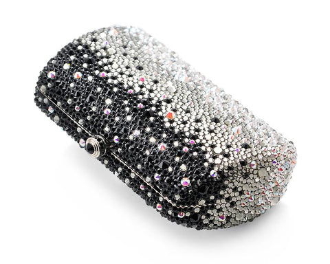 Glam Bling Crystal Clutch Bag - Black 14.5cm